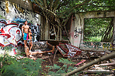USA, Oahu, Hawaii, portrait of MMA Mixed Martial Arts Ultimate fighter Lowen Tynanes and Logan Garcia in an abandoned building on the North Shore of Oahu