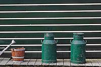 Bucket and milk container, Zaanse Schans, Holland, Netherlands