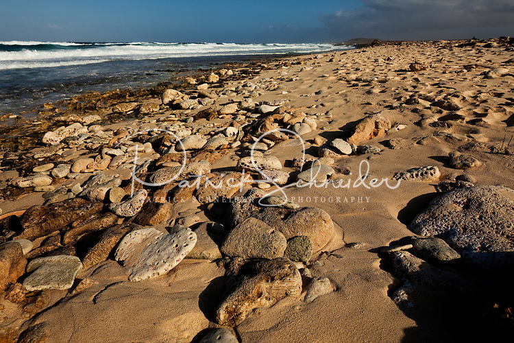 One of Aruba's few rocky beaches, located near the California Sand Dunes and Arashi Beach along the western and northern coasts of the island. Aruba remains a popular tourist destination, with international planes and cruise ships arriving daily. Aruba, part of the Lesser Antilles, is famous for its white sand beaches, blue/green waters and mild climate.