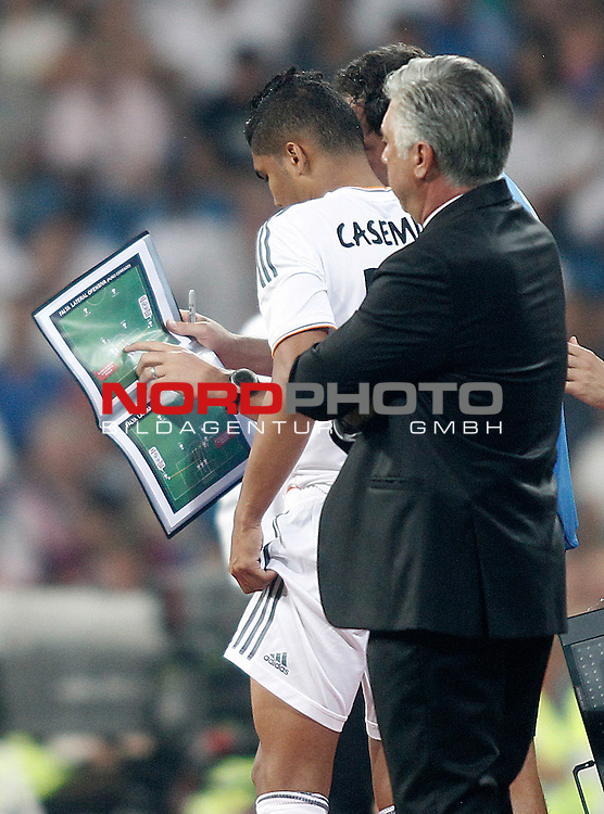 Real Madrid's Casemiro looks the book of tactics during La Liga match.August 18,2013. Foto © nph / Acero)