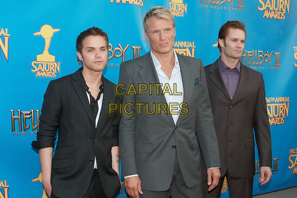 THOMAS DEKKER, DOLPH LUNDGREN & GARRET DILLAHUNT.34th Annual Saturn Awards held at Universal Hilton Hotel, Universal City, California, USA..June 24th, 2008.half length black suit grey gray purple .CAP/ADM/CH.©Charles Harris/AdMedia/Capital Pictures