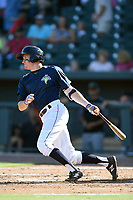 Center fielder Ian Strom (40) of the Columbia Fireflies bats in a game against the Augusta GreenJackets on Sunday, July 30, 2017, at Spirit Communications Park in Columbia, South Carolina. Augusta won, 6-0. (Tom Priddy/Four Seam Images)