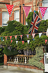 Bunting. Royal Wedding Street Party. Barnes, London UK. 29 April 2011 <br />