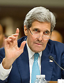 United States Secretary of State John F. Kerry appears before the US Senate Committee on Foreign Relations for the hearing to examine and review the Iran nuclear agreement on Capitol Hill in Washington, DC on Thursday, July 23, 2015.<br /> Credit: Ron Sachs / CNP
