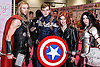 Fans and enthusisats attending the MCM London Comic Con at the Excel centre.