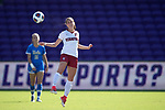ORLANDO, FL - DECEMBER 03: Jordan DiBiasi #11 of Stanford University heads the ball against UCLA during the Division I Women's Soccer Championship held at Orlando City SC Stadium on December 3, 2017 in Orlando, Florida. Stanford defeated UCLA 3-2 for the national title. (Photo by Jamie Schwaberow/NCAA Photos via Getty Images)