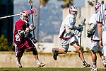 Los Angeles, CA 03/16/10 - Will Weil (Chico State # 10) and Chase Parlett (LMU # 6) in action during the Chico State-Loyola Marymount University MCLA interdivisional game at Leavey Field (LMU).  LMU defeated Chico State 7-4.