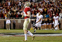 TALLAHASSEE, FL 11/19/11-FSU-UVA111911 CH-Florida State's Dustin Hopkins reacts after he missed the potential winning field goal in the final second of the game, Saturday at Doak Campbell Stadium in Tallahassee. The Seminoles lost to the Cavaliers 14-13..COLIN HACKLEY PHOTO