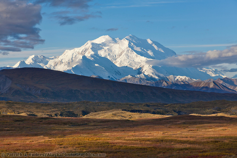 The north and south summits of Denali are visible with the muldrow glacier moraine in the foreground, Denali National Park, Alaska.