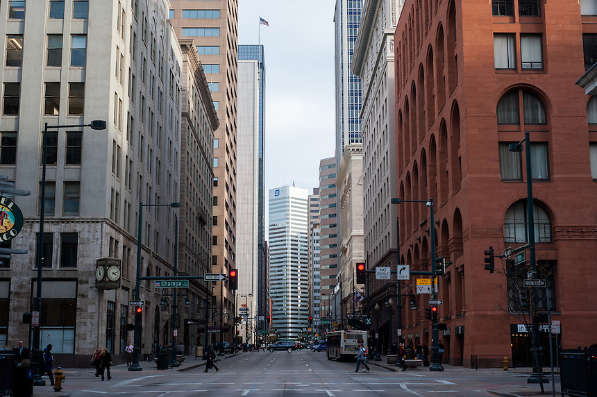 """A general view on 17th street in Denver, Colorado, looking southeast towards Broadway. The street is also known as the """"Wall Street of the West"""""""