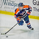 4 January 2014:  Syracuse University Orange forward Julie Knerr, a Junior from Dollard-des-Ormeaux, Quebec, in action against the University of Vermont Catamounts, in non-conference play at Gutterson Fieldhouse in Burlington, Vermont. The Orange defeated the UVM Lady Cats 4-3 in their first ever NCAA meeting. Mandatory Credit: Ed Wolfstein Photo *** RAW (NEF) Image File Available ***