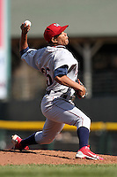 Lehigh Valley Ironpigs relief pitcher Juan Perez #35 delivers a pitch during the second game of a double header against the Rochester Red Wings at Frontier Field on April 14, 2011 in Rochester, New York.  Lehigh Valley defeated Rochester 5-3 in extra innings.  Photo By Mike Janes/Four Seam Images