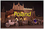 Horse drawn carriages transport visitors around the Old Town area of Krakow