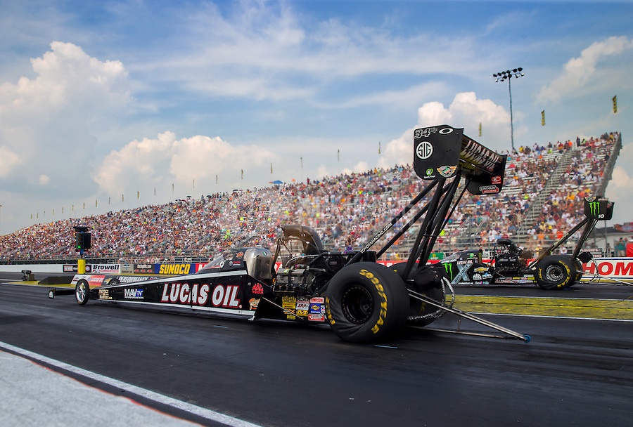 Sep 7, 2015; Clermont, IN, USA; NHRA top fuel driver Morgan Lucas during the US Nationals at Lucas Oil Raceway. Mandatory Credit: Mark J. Rebilas-USA TODAY Sports