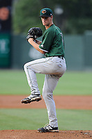 Pitcher Chase Johnson (41) of the Augusta GreenJackets delivers a pitch in a game against the Greenville Drive on Friday, July 11, 2014, at Fluor Field at the West End in Greenville, South Carolina. Greenville won, 7-6. (Tom Priddy/Four Seam Images)