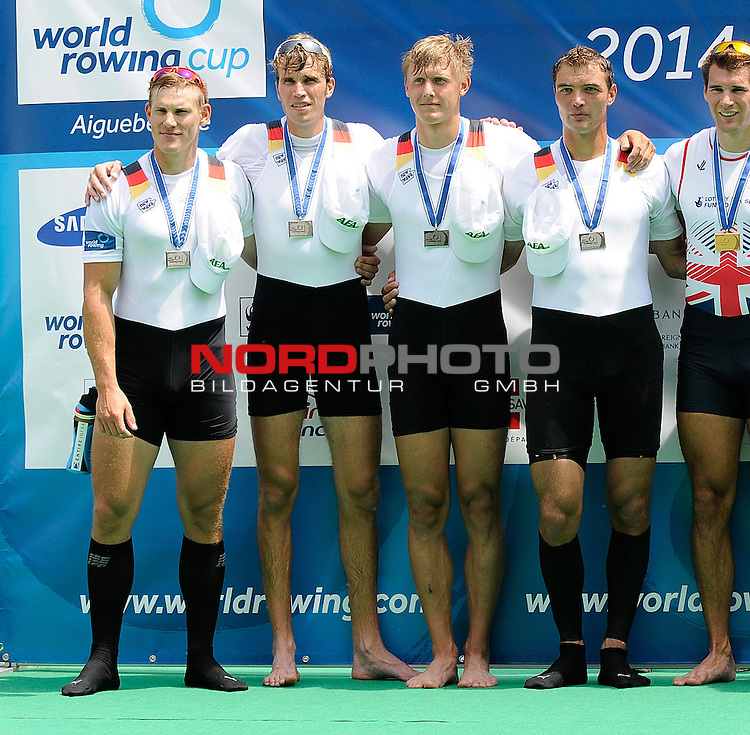 21 June,2014. World Cup Rowing, Aiguebelette, France. The Men's Quadruple Sculls team of Germany celebrates winning the silver medal in the final.<br /> <br /> Foto &copy; nph / Pier Paolo Piciucco