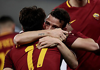 Calcio, Serie A: AS Roma - Benevento, Roma, stadio Olimpico, 11 gennaio 2018.<br /> Roma's Cengiz Under (l) celebrates with his teammate Alessandro Florenzi (r) after scoring during the Italian Serie A football match between AS Roma and Benevento at Rome's Olympic stadium, February 11, 2018.<br /> UPDATE IMAGES PRESS/Isabella Bonotto