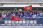 Kitchee SC celebrating with his trophy after the Hong Kong FA Cup final between Kitchee and Wofoo Tai Po at the Hong Kong Stadium on May 26, 2018 in Hong Kong, Hong Kong. Photo by Marcio Rodrigo Machado / Power Sport Images