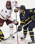 Ron Greco (BC - 28), Tyler Irvine (Merrimack - 11) - The visiting Merrimack College Warriors defeated the Boston College Eagles 6 - 3 (EN) on Friday, February 10, 2017, at Kelley Rink in Conte Forum in Chestnut Hill, Massachusetts.