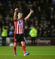Lincoln City's Harry Toffolo acknowledges the fans at the end of the game<br /> <br /> Photographer Chris Vaughan/CameraSport<br /> <br /> The Carabao Cup Second Round - Lincoln City v Everton - Wednesday 28th August 2019 - Sincil Bank - Lincoln<br />  <br /> World Copyright © 2019 CameraSport. All rights reserved. 43 Linden Ave. Countesthorpe. Leicester. England. LE8 5PG - Tel: +44 (0) 116 277 4147 - admin@camerasport.com - www.camerasport.com