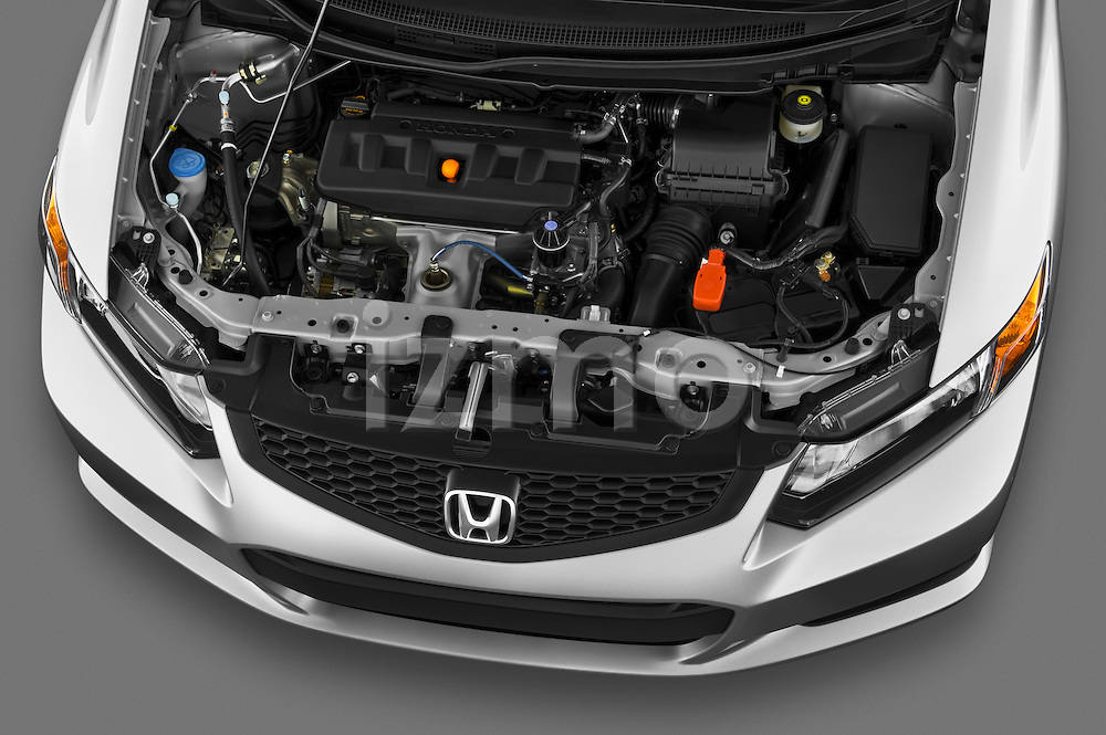 High angle engine detail of a 2012 Honda Civic Coupe EX  .