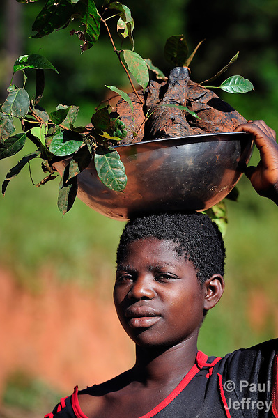 A woman walks along a road near Thekerani, in southern Malawi, carrying plants to sell at market. These plants are useful in improving the fertility of the soil.