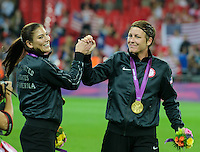 London, England - Thursday, August 9, 2012: The USA defeated Japan 2-1 to win the London 2012 Olympic gold medal at Wembley Stadium. Hope Solo and Abby Wambach celebrate. .