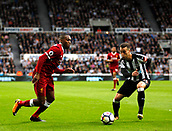1st October 2017, St James Park, Newcastle upon Tyne, England; EPL Premier League football, Newcastle United versus Liverpool; Daniel Sturridge of Liverpool takes on Javi Manquillo of Newcastle United in the 1-1 draw