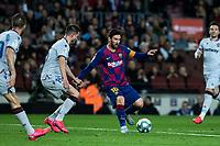2nd February 2020; Camp Nou, Barcelona, Catalonia, Spain; La Liga Football, Barcelona versus Levante; Lionel Messi of FC Barcelona breaks through the Levante defense line
