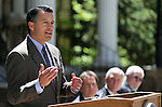 Nevada Gov. Brian Sandoval speaks at a press conference Wednesday, May 1, 2013, at the Capitol in Carson City, Nev. Officials from Coeur Rochester donated a 60-pound silver bar to be used in creating 1,000 commemorative Sesquicentennial coins for the Silver State's 150th birthday celebration. .Photo by Cathleen Allison