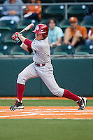 Oklahoma Sooners outfielder Craig Aikin #3 follows through on his swing against the Texas Longhorns in the NCAA baseball game on April 5, 2013 at UFCU DischFalk Field in Austin Texas. Oklahoma defeated Texas 2-1. (Andrew Woolley/Four Seam Images).