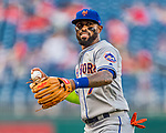 28 April 2017: New York Mets infielder Jose Reyes warms up prior to a game against the Washington Nationals at Nationals Park in Washington, DC. The Mets defeated the Nationals 7-5 to take the first game of their 3-game weekend series. Mandatory Credit: Ed Wolfstein Photo *** RAW (NEF) Image File Available ***