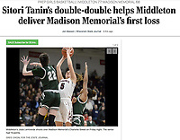 Middleton's Josie Lemirande shoots over the block of Madison Memorial's Charlotte Sweet in the first period, as Madison Memorial takes on Middleton in Wisconsin WIAA Big Eight Conference girls high school basketball on Friday, Jan. 31, 2020 at Middleton High School | Wisconsin State Journal article front page Sports B1 and B4 and online at https://madison.com/wsj/sports/high-school/basketball/girls/sitori-tanin-s-double-double-helps-middleton-deliver-madison-memorial/article_1478e3ef-c7a1-51d6-b196-b8a885717277.html