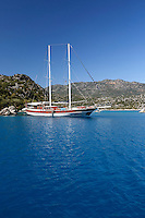 Turkey, Province Antalya, island Kekova, near Demre: Gulet cruise | Tuerkei, Provinz Antalya, insel Kekova bei Demre: Ausflugschiff (Gulet ) vor Anker