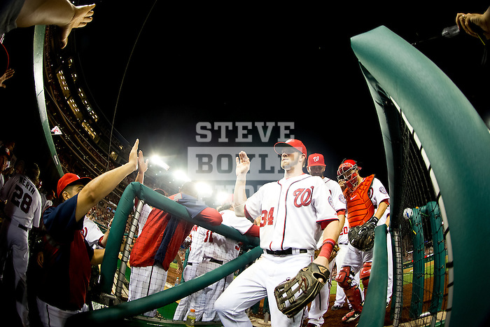 Washington Nationals outfielder Bryce Harper (34) enters the dugout following an inning during a game against the Miami Marlins at Nationals Park in Washington, DC on September 7, 2012.