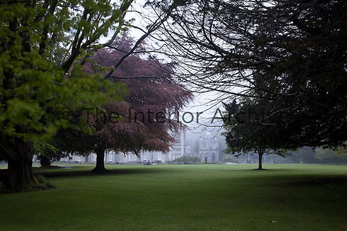 A glimpse of the garden front of Killruddery set in a park of mature trees