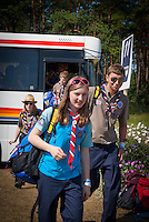 Scouts and Guides on arrival at the bus stop leaving the bus