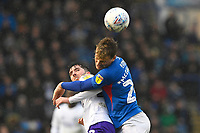 Cameron McGeehan of Portsmouth wins a header from Sean Goss of Shrewsbury Town during Portsmouth vs Shrewsbury Town, Sky Bet EFL League 1 Football at Fratton Park on 15th February 2020
