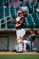 Birmingham Barons catcher Yermin Mercedes (6) during a Southern League game against the Chattanooga Lookouts on May 2, 2019 at Regions Field in Birmingham, Alabama.  Birmingham defeated Chattanooga 4-2.  (Mike Janes/Four Seam Images)