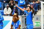 14.04.2019, PreZero Dual Arena, Sinsheim, GER, 1. FBL, TSG 1899 Hoffenheim vs. Hertha BSC Berlin, <br /> <br /> DFL REGULATIONS PROHIBIT ANY USE OF PHOTOGRAPHS AS IMAGE SEQUENCES AND/OR QUASI-VIDEO.<br /> <br /> im Bild: Nadiem Amiri (TSG Hoffenheim #18) jubelt ueber sein Tor zum 1:0<br /> <br /> Foto &copy; nordphoto / Fabisch