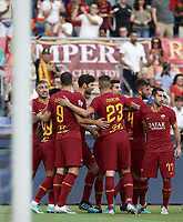 Football, Serie A: AS Roma - Sassuolo, Olympic stadium, Rome, September 15, 2019. <br /> Roma's Bryan Cristante (second from right)  celebrates after scoring with his teammates during the Italian Serie A football match between Roma and Sassuolo at Olympic stadium in Rome, on September 15, 2019.<br /> UPDATE IMAGES PRESS/Isabella Bonotto