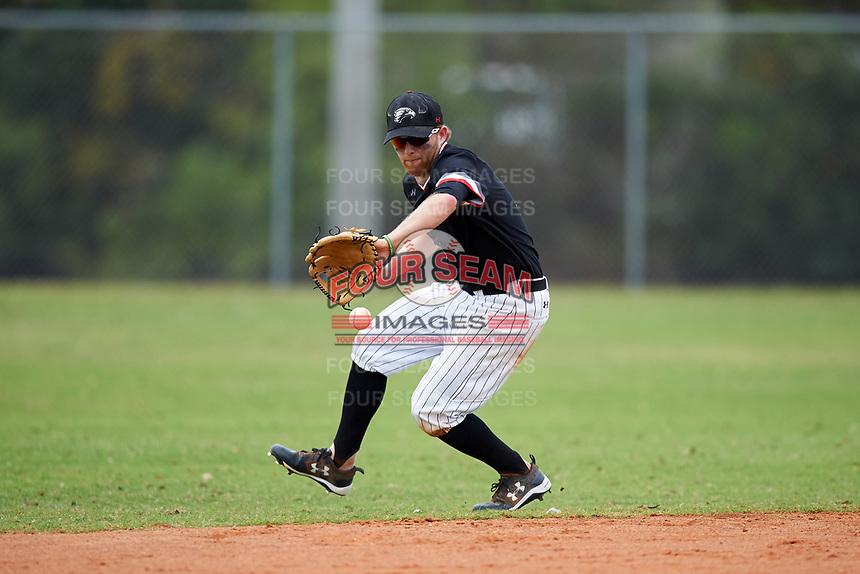 Edgewood College Eagles Brodie Engel (3) fields a ground ball during the first game of a doubleheader against Western Connecticut Colonials on March 13, 2017 at the Lee County Player Development Complex in Fort Myers, Florida.  Edgewood defeated Western Connecticut 3-0.  (Mike Janes/Four Seam Images)