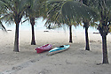 Two kayaks on Caribbean beach in Mexico