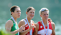 Ottensheim, AUSTRIA.  A  Final,  LW1X, Medallist left, IRL LW1X, Sinead JENNINGS, centre Gold Medallist, Pamela WEISSHAUPT, and right CRO LW1X, Mima RAJLE BRODANAC, Awards Dock,  at the 2008 FISA Senior and Junior Rowing Championships,  Linz/Ottensheim. Sunday,  27/07/2008.  [Mandatory Credit: Peter SPURRIER, Intersport Images] Rowing Course: Linz/ Ottensheim, Austria
