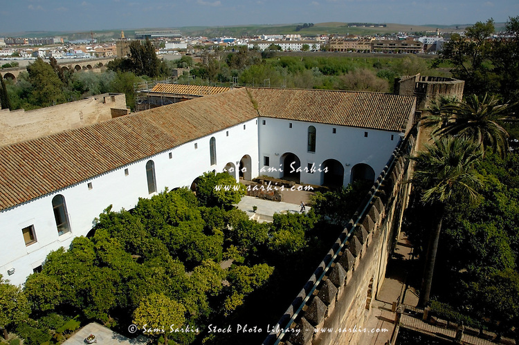 View of the courtyard from the Lion Tower of the Alcazar of the Christian Monarchs, Cordoba, Andalusia, Spain.