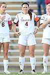 22 November 2013: Texas A&M's Meghan Streight (4). The Texas A&M University Aggies played the Texas Tech University Red Raiders at Fetzer Field in Chapel Hill, NC in a 2013 NCAA Division I Women's Soccer Tournament Second Round match. Texas A&M advanced by winning the penalty kick shootout 4-3 after the game ended in a 2-2 tie after overtime.