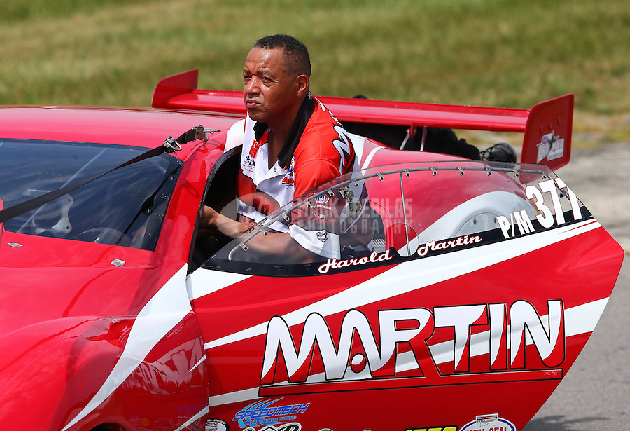Aug. 31, 2013; Clermont, IN, USA: NHRA pro mod driver Harold Martin during qualifying for the US Nationals at Lucas Oil Raceway. Mandatory Credit: Mark J. Rebilas-