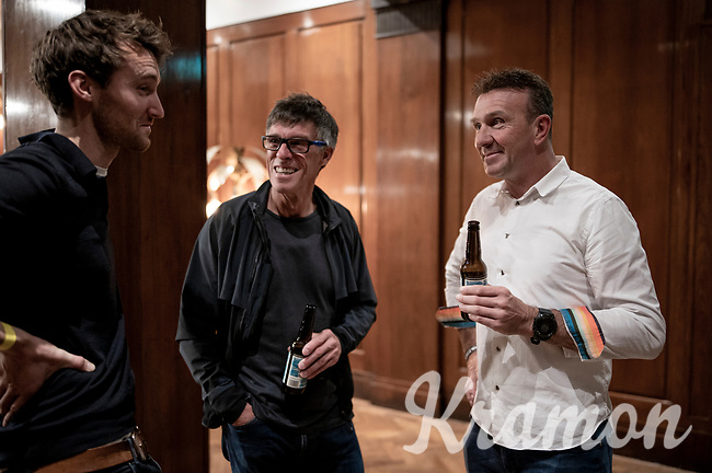 "Johan Museeuw and Phil Anderson enjoying a chat and a beer backstage at the Rouleur Classic, London 2019;  ""The World's Finest Road Cycling Exhibition""<br /> <br /> ©kramon"