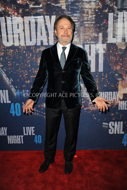 WWW.ACEPIXS.COM<br /> February 15, 2015 New York City<br /> <br /> Billy Crystal walking the red carpet at the SNL 40th Anniversary Special at 30 Rockefeller Plaza on February 15, 2015 in New York City.<br /> <br /> Please byline: Kristin Callahan/AcePictures<br /> <br /> ACEPIXS.COM<br /> <br /> Tel: (646) 769 0430<br /> e-mail: info@acepixs.com<br /> web: http://www.acepixs.com