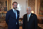 Palestinian President Mahmoud Abbas meets with the  Crown Prince of Norway, in Oslo, on September 20, 2019. Photo by Thaer Ganaim